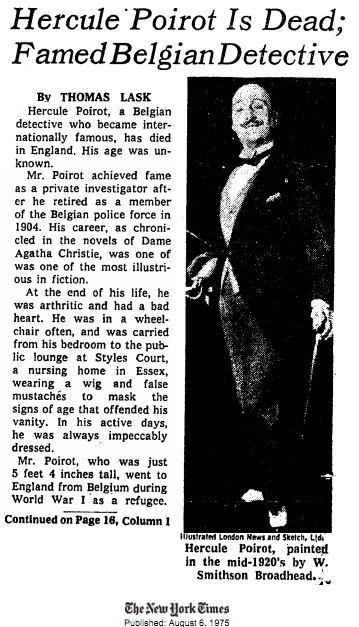 Hercule Poirot Obituary